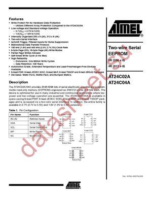 AT24C02A-10TI-2.7 datasheet скачать даташит