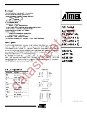 AT25160-10PI-1.8 datasheet скачать даташит