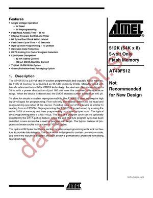 AT49F512-90JC datasheet скачать даташит