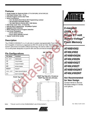 AT49LV002N-90VC datasheet скачать даташит