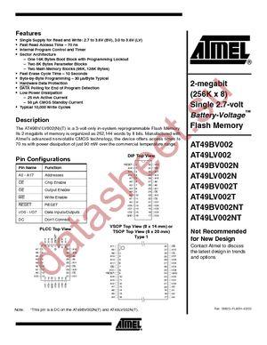 AT49LV002NT-12JI datasheet скачать даташит