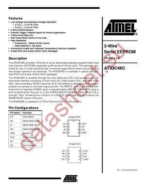 AT93C46C-10SI-2.5 datasheet скачать даташит