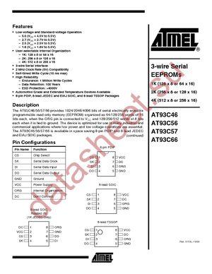 AT93C46W-10SC-2.7 datasheet скачать даташит