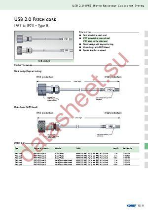 HTML, PDF. О даташите. Conn USB patch cord 4.5M IP67. Маркировка. Форма