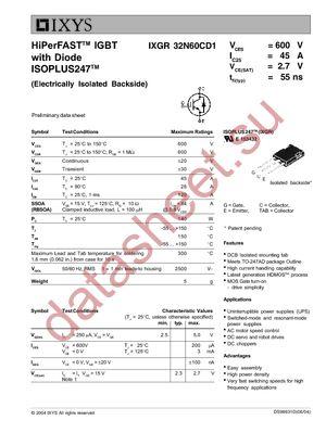IXGR32N60CD1 datasheet скачать даташит