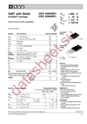 IXSX40N60BD1 datasheet скачать даташит