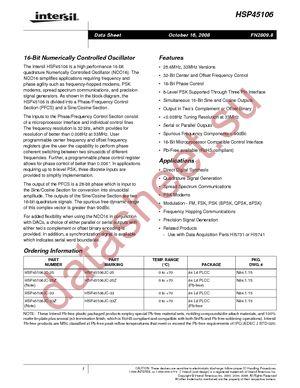 HSP45106JC-33Z datasheet скачать даташит