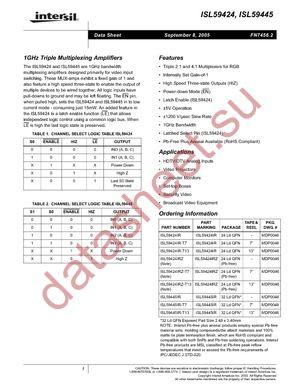 ISL59424IR datasheet скачать даташит
