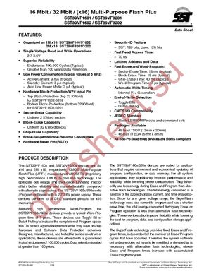 SST39VF3202-70-4I-EKE datasheet скачать даташит