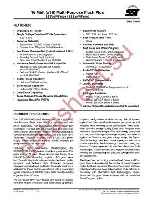 SST39WF1601-70-4C-B3KE datasheet скачать даташит
