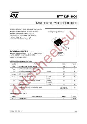 BYT12PI-1000RG datasheet скачать даташит