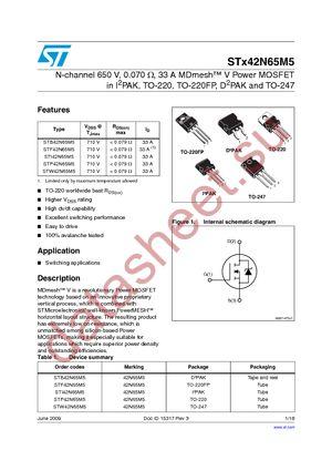 STB42N65M5 datasheet скачать даташит