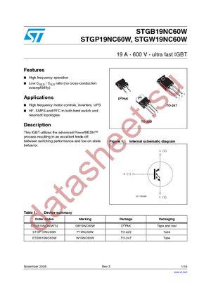 STGB19NC60WT4 datasheet скачать даташит