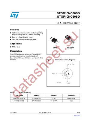 STGD10NC60SDT4 datasheet скачать даташит