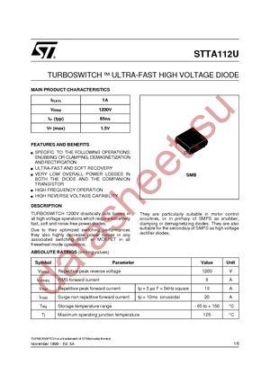 STTA112U datasheet скачать даташит